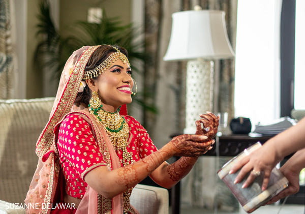 Lovely indian bride getting ready moments