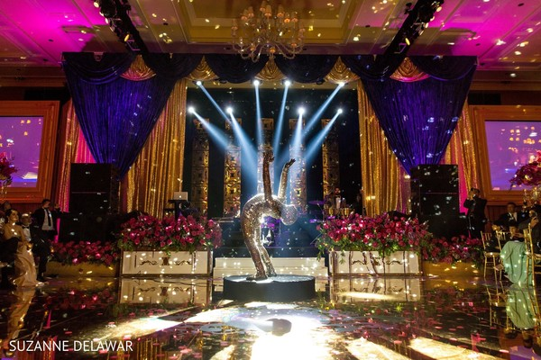 indian wedding reception,lighting,floral and decor