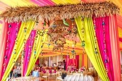 Colorful sangeet decor