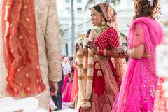 Sweet indian bride about to exchange garlands