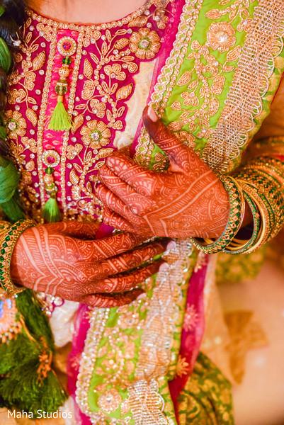 Detail of the mehndi design on maharani's hand