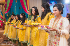 Beautiful Indian bridesmaids at the begging of the ceremony