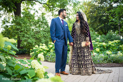 Lovely capture of Indian bride and groom outdoors