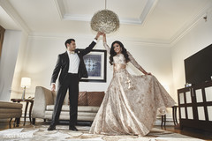 Indian bride showing her reception outfit