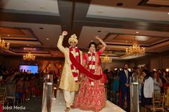 Indian newlyweds celebrating