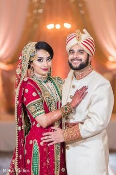 Enchanting newlyweds smile for shots