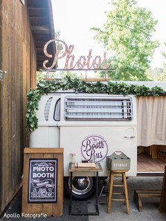 Detail of the photo booth bus at the reception