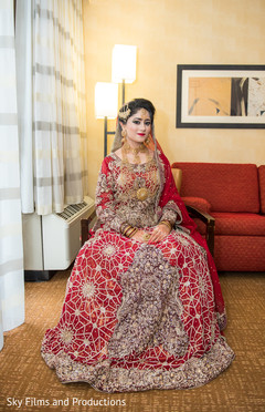 Maharani in a beautiful golden embroidered lengha