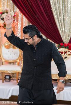 Indian wedding guest dancing