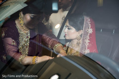 Indian bride ready to leave after wedding ceremony