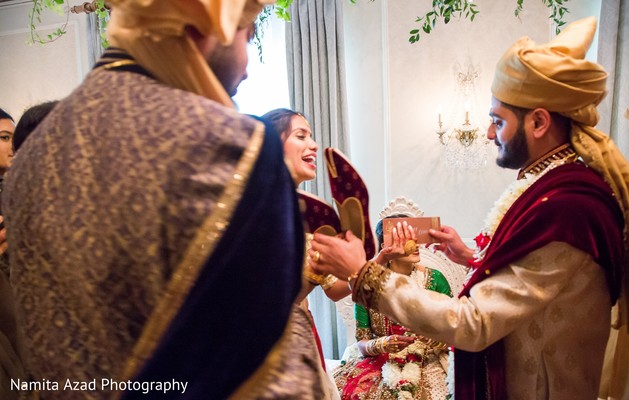 Fun capture of raja and bridesmaid during the rituals