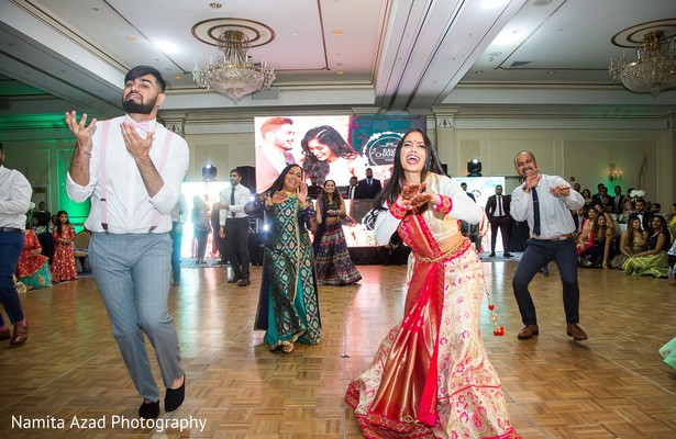 Special guests performing a choreography at the reception
