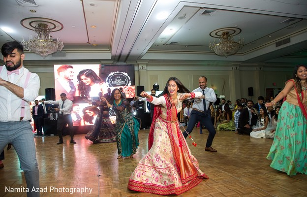 Special guests performing a choreography during the reception