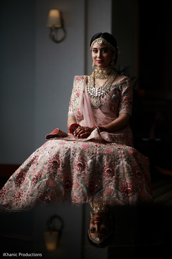 Ravishing indian bride with ceremony outfit.