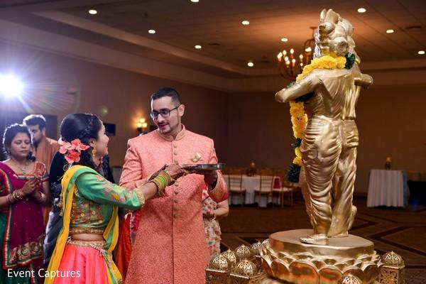 sangeet,indian bride and groom,sangeet rituals,indian pre-wedding gods