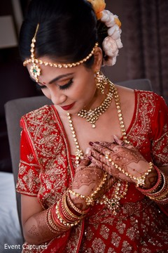 Sweet indian bride getting ready.