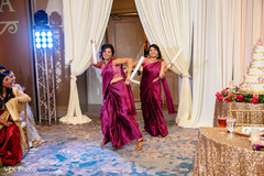 Bridesmaids having a blast during their entrance