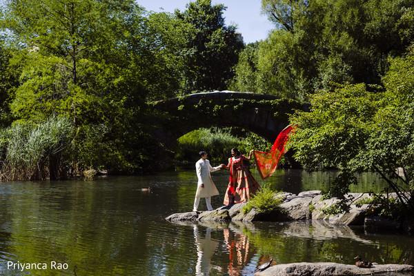 indian bride,indian groom,lake,forest