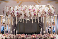 Thousands of roses decorate the Indian wedding venue