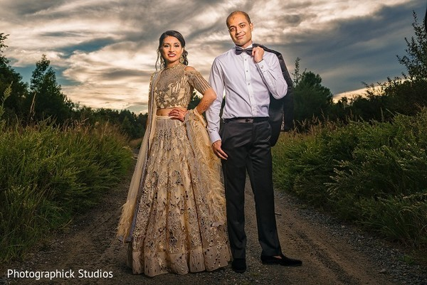 indian wedding reception fashion,indian bride and groom,outdoor photography