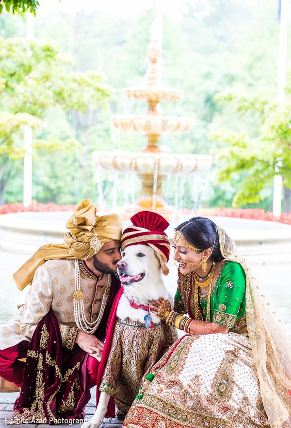 Tender moment between the Indian couple and dog