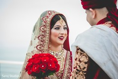Capture of beautiful maharani looking at raja