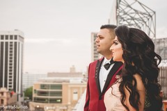 Portrait of the lovely newlyweds outdoors