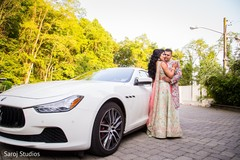 Indian bride and groom outdoors
