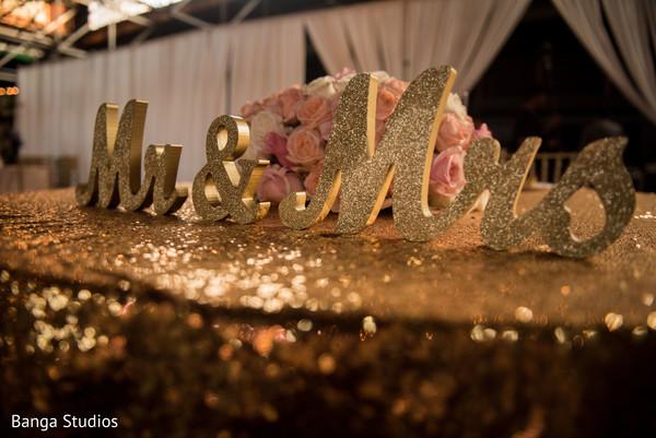 Wonderful Indian wedding reception letters decor.