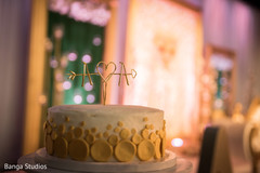 Wonderful Indian wedding cake personalized letters topper decor.