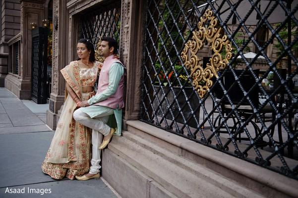 Lovely Indian couple in their pre-wedding outfits.