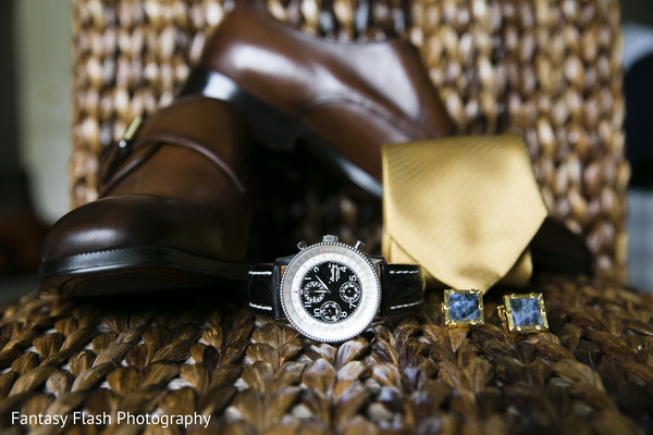 Elegant Indian grooms watch and accessories.