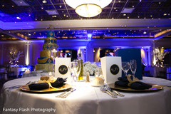 Elegant indian wedding reception table set up.