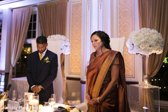 Indian bride and groom at a special prayer capture.