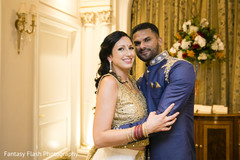 Enchanting indian couple during pre-wedding celebration.