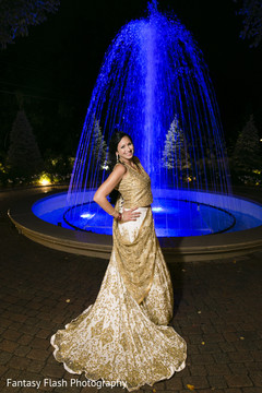 Traditional Indian bride on her reception outfit.
