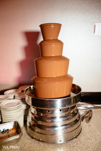 Delicious Indian wedding chocolate fountain.