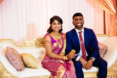 Reception stage themed indian couples photo session.