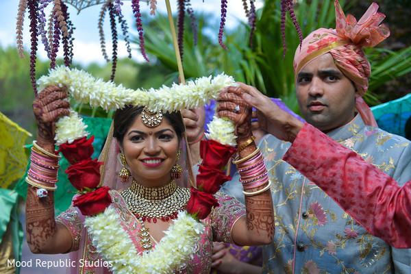 Maharani holding the flower garland