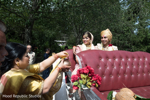 Special guests blessing the Indian newlyweds