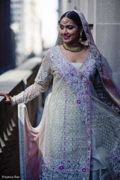 Indian bride wearing the stunning light blue lengha