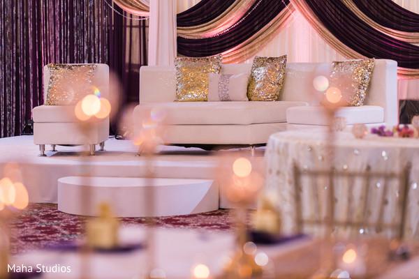 Stunning Indian wedding reception lights decoration capture.