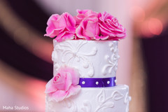 Close up capture of the Indian wedding cake details