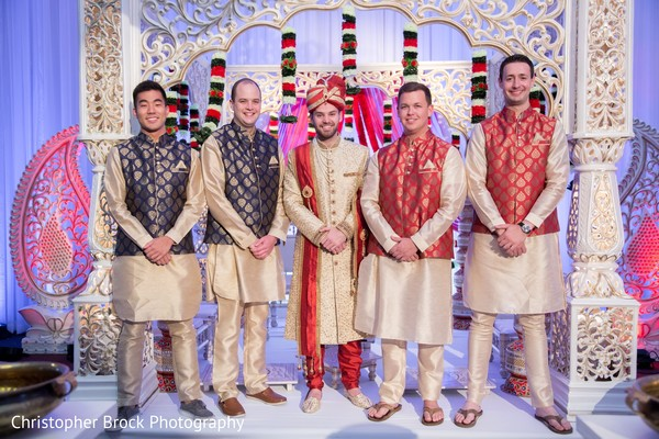 Gorgeous Indian groom and groomsmen capture.
