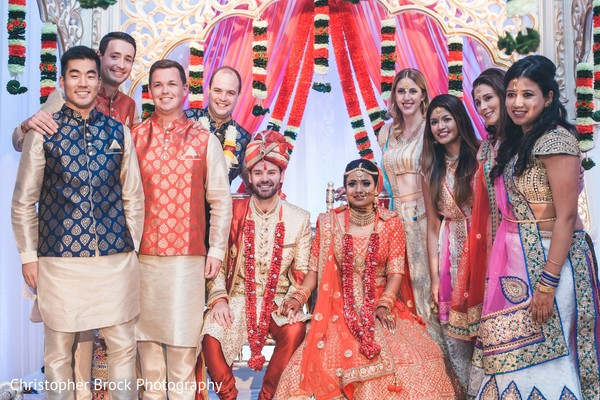 Charming Indian bride and groom wedding ceremony fashion look.