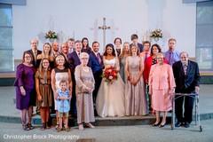Indian Christian wedding family portrait.