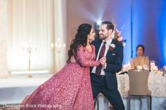 Indian wedding reception first dance.