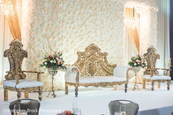 Magnificent Indian wedding reception stage decor.