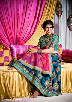 Adorable indian bride on her sangeet outfit.