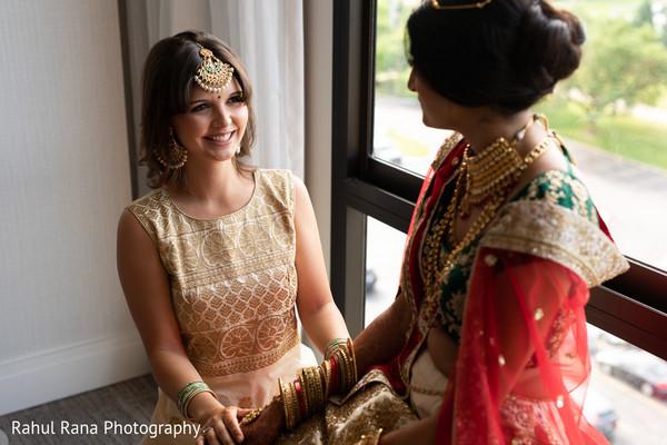 indian wedding,getting ready,bridesmaids,maharani